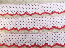 5 yards Polka Dot & Edged Soft Lace Trim/Dress/Sewing/Quilting/notion T56-Red