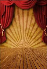 5x7FT Circus Red Curtain Stage Carnival Photo Studio Background Backdrop Vinyl