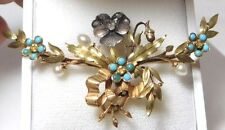 """Victorian 14K Yellow Gold Diamond Turquoise 'Forget me Not"""" Pearls Flower Brooch"""
