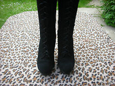 Black suede leather sexy high heeled lace up knee high boots UK size 7 EU 41