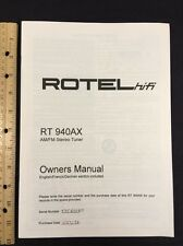 Rotel RT940ax Stereo Tuner Owners Manual 6 Pages of English