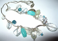Pretty Vintage Style NEXT Aqua Teal Mother of Pearl Costume Jewellery NECKLACE