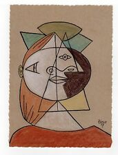 "Pablo Picasso - Color Sketch ""CUBIST HEAD OF A WOMAN"" Registered"
