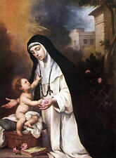 Oil Bartolome Esteban Murillo - St Rose of Lima Christ Child holding flowers 36""