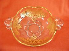Duncan Miller Glass Canterbury Applied GOLD Queens Rose Floral on Nut Mint Bowl
