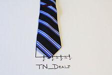 NWT Mens Rooster Black Purple Blue White Striped Silk Tie Necktie