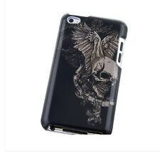 iPod Touch 4th Gen - SNAP ON HARD CASE COVER BLACK GREY SKULL WING