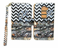 Hunting with Chevron Anchor Design Wallet Leather Case for LG Leon C40 H320