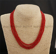 17-19 INCH NATURAL 3 Rows 2X4mm FACETED RED RUBY BEADS NECKLACE