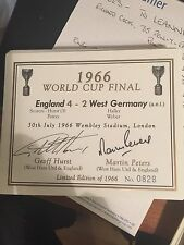 champagne label signed by England 66 scorers SIR GEOFF HIRST AND MARTIN PETERS