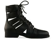 JEFFREY CAMPBELL SLASHED BOOTS GENUINE BLACK SUEDE LEATHER ARMY COMBAT LACE UP 9