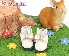 ☆╮Cool Cat╭☆【23-1】Blythe/Pullip Bunny Ears With Bow Mini Ankle Boots # White