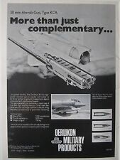 7/1980 PUB OERLIKON MILITARY PRODUCTS 30 MM AIRCRAFT GUN TYPE KCA SAAB VIGGEN AD