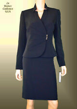 TAHARI Women SIZE 6 NAVY BLUE PLEAT 2PC Two-Piece Skirt Suit Dressy NWT$280
