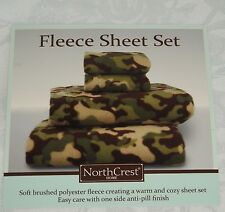 Northcrest FLEECE KING SIZE CAMO SHEET SET Camouflage Green Tan NEW