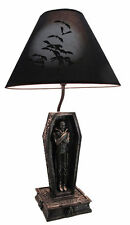 Count Dracula In Casket Coffin Table Lamp with Bat Shade Halloween Home Figurine