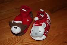 NWT Gymboree Gymmies Size 9 - 10 Holiday Puppies Brown White Plush Slippers