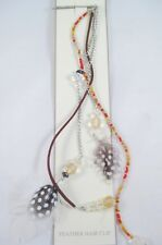 """New 10"""" Feather Hair Extension Hair Clip Headband With Beads NWT #H0047"""