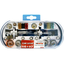 UNIVERSAL CAR BULB LAMP LIGHT AND FUSE SET H7 - H4 30PC BOX SET
