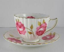 VTG Radfords Fenton English Bone China Gold Gilt Ribbed Red Rose Cup Saucer Set