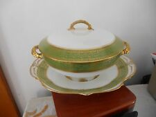 Antique GDA France Limoges Hand Painted Two Handled Bowl With Lid Green Decor.