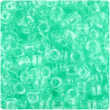 500 Lt Green Transparent 9x6mm Barrel Pony Beads Made in the USA by The Beadery