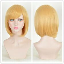 Chic Women Bob Hairstyles gold Blonde Short Wig Remy Straight Fashion Wigs