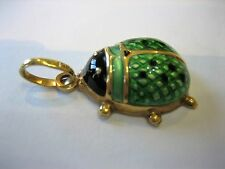 14K Gold Green Enamel Ladybug Beetle Charm Pendant  Made in Italy UNO A-ERRE