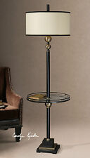 """NEW 66"""" BLACK FLOOR LAMP BRONZE METAL ACCENTS TEMPERED GLASS TRAY READING LIGHT"""