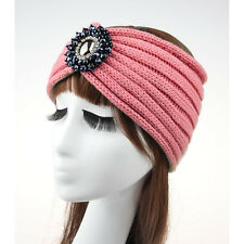 Women Ladies Winter Crochet Knitted Crystal Rhinestone Turban Headband Hair Band