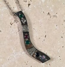 18k White Gold .84 Ct Diamond Opal Emerald Sapphire Pave Lariat Pendant Necklace