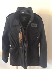 Alpha Industries M-65 Infantry Field Military Coat Black Jacket Size M