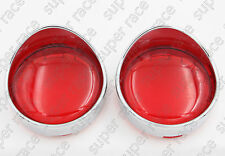 2pcs Red Turn Signal Light Lens Cover For Harley Touring Road King Visor Style