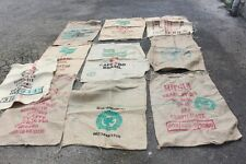10 Used Coffee Bean Sacks - Hessian - Burlap - Jute, 100% Original Prints