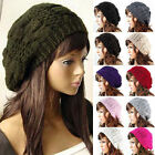 Women Lady Winter Warm Knitted Crochet Slouch Baggy Beret Beanie Hat Cap Hats
