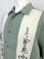 Cubavera Green & Cream Panel S/S Casual Shirt Men's Large, Camp Bowling Lounge