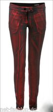 ALEXANDER McQUEEN SPARKLING RED LAMINATED JEANS TROUSERS BNWT UK 12 US 10 IT 44
