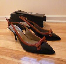 Bruno Magli black/wine leather slingbacks from Italy size 9,5