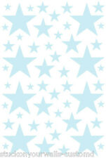 52 POWDER BLUE STARS VINYL BEDROOM WALL DECALS STICKERS Teen Girl Baby Nursery