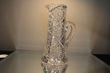 American Brilliant Period Cut Glass Champagne Pitcher ANTIQUE ABP Hobstar