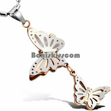 Couple Charm Butterflies Women's Ladies Pendant Necklace Stainless Steel Chain