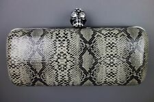 Womens SKULL & Rhinstones Grey Black Snake Print Clutch Bag by Love Forever