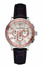NEW-NAUTICA OCN 38 SILVER+ROSE GOLD TONE,BROWN BAND,CHRONOGRAPH WATCH-A22599M