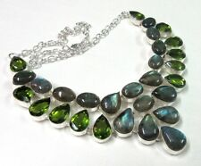 AAA+ Blue Fire Labradorite With Peridot Quartz 925 Silver Gorgeous Necklace