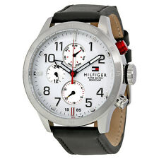 Tommy Hilfiger Multi-Function White Dial Black Leather Mens Watch 1791138