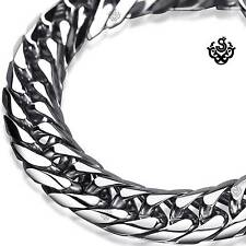 Silver bracelet bikies chain chunky heavy stainless steel 245mm long