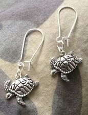 ANTIQUED SILVER TONE SEA TURTLE EARRINGS With Other Ear Wire Options)