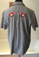 """Nudie Jeans Co ~all cotton summer weight s/sleeve embroidered check shirt XL 44"""""""