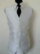 D1006 MENS HEIRLOOM WHITE DIAMOND 2 POCKETS FORMAL WEDDING WAISTCOAT L 42L