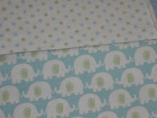 Carters Cotton Flannel Baby Receiving Blanket Elephant Dots Blue White Green
